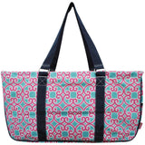"NGIL All Purpose Open Top 23"" Classic Extra Large Utility Tote Bag Geo Aqua Pink"