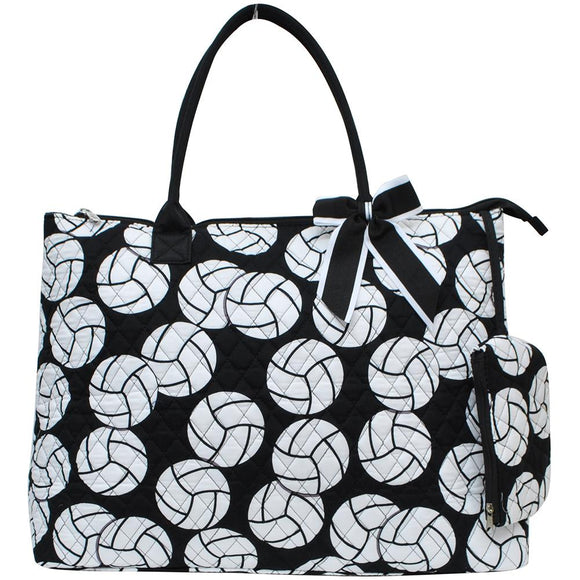 NGIL Extra Large Quilted Cotton Tote Bag Volleyball Black