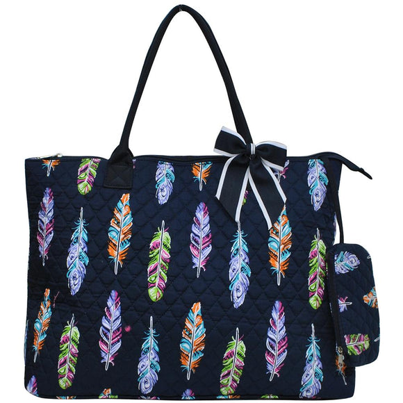NGIL Extra Large Quilted Cotton Tote Bag Feather