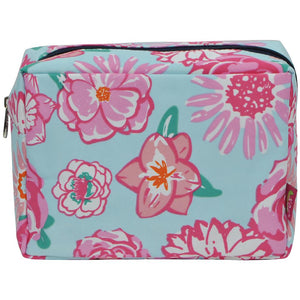 NGIL Large Travel Cosmetic Pouch Bag Rose Floral Navy