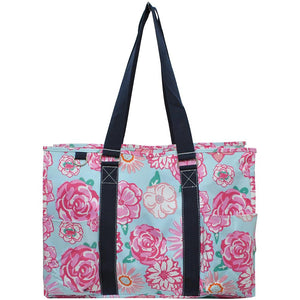 "NGIL All Purpose Organizer 18"" Large Utility Tote Bag Rose Floral"