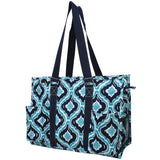 "NGIL All Purpose Organizer 18"" Large Utility Tote Bag Quatrefoil Ikat Navy"