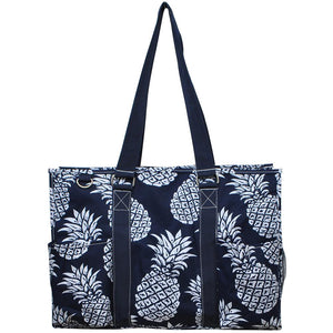 "NGIL All Purpose Organizer 18"" Large Utility Tote Bag Southern Pineapple Navy"
