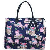 NGIL Extra Large Quilted Cotton Tote Bag Pig