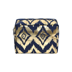 NGIL Large Travel Cosmetic Pouch Bag Gold IKAT Navy