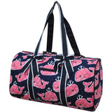 NGIL Quilted Cotton Large Duffle Bag Pink Whale Navy