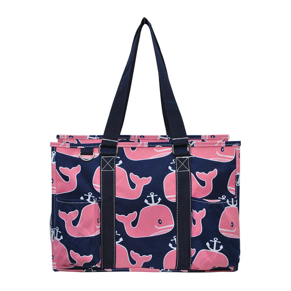 NGIL All Purpose Organizer Medium Utility Tote Bag Pink Whale