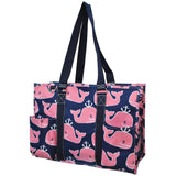 "NGIL All Purpose Organizer 18"" Large Utility Tote Bag Pink Whale Navy"