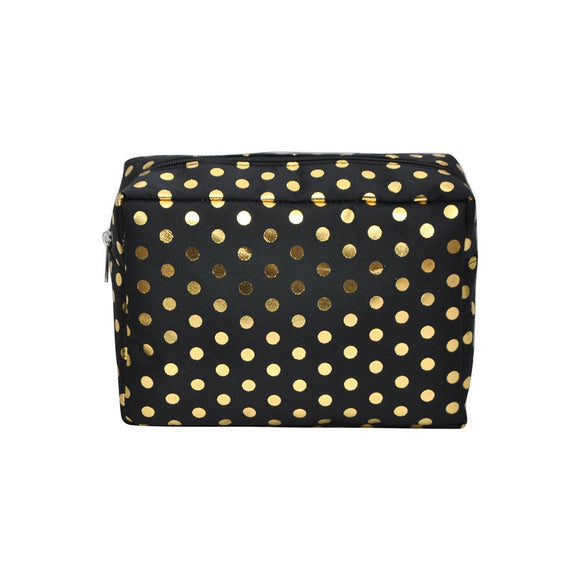 NGIL Large Travel Cosmetic Pouch Bag Gold Polka Dot Black