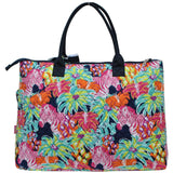 NGIL Extra Large Quilted Cotton Tote Bag Floral Zebra Navy