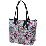NGIL Quilted Medium Tote Bag Floral Garden Black