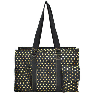 "NGIL All Purpose Organizer 18"" Large Utility Tote Gold Polka Dot Black"
