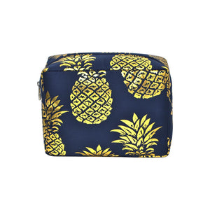 NGIL Large Travel Cosmetic Pouch Bag Gold Southern Pineapple Navy