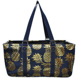 "NGIL All Purpose Open Top 23"" Classic Extra Large Utility Tote Bag Gold Pineapple"