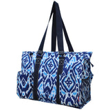 "NGIL All Purpose Organizer 18"" Large Utility Tote Bag Blue IKAT Navy"