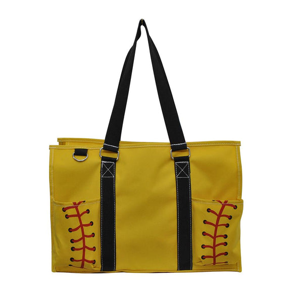 NGIL All Purpose Organizer Medium Utility Tote Bag Softball Yellow