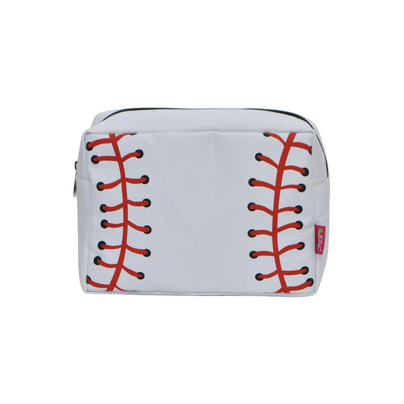 NGIL Large Travel Cosmetic Pouch Bag White Baseball Black