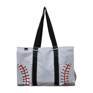 NGIL All Purpose Organizer Medium Utility Tote Bag Baseball White