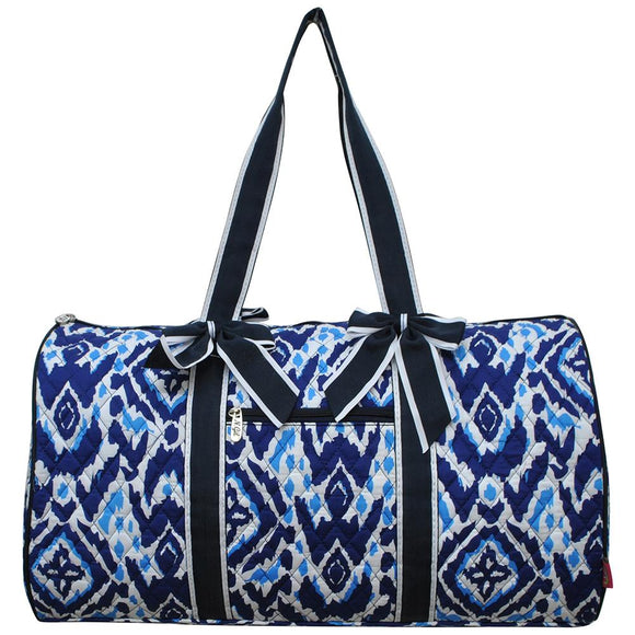 NGIL Quilted Cotton Large Duffle Bag Blue Ikat Navy