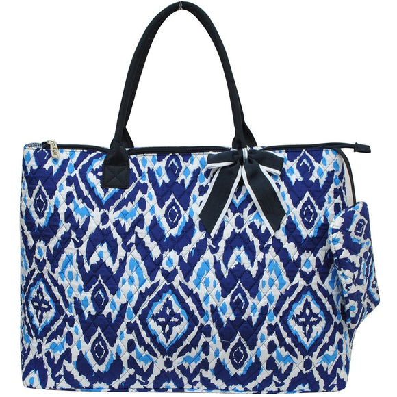 NGIL Extra Large Quilted Cotton Tote Bag Blue Ikat Navy