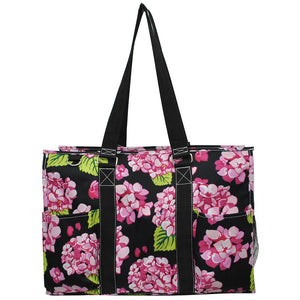 "NGIL All Purpose Organizer 18"" Large Utility Tote Bag Hydrangea Flower Black"