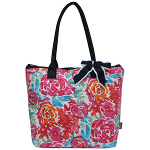 NGIL Quilted Medium Tote Bag All Flowers Navy