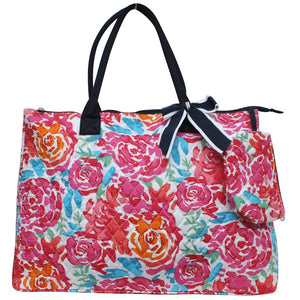 NGIL Extra Large Quilted Cotton Tote Bag All Flower Navy