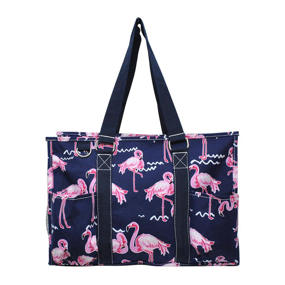 NGIL All Purpose Organizer Medium Utility Tote Bag Pink Flamingo Navy