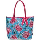 NGIL Quilted Medium Tote Bag Turtle & Me Hot Pink