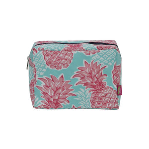 NGIL Large Travel Cosmetic Pouch Bag Southern Summer Pineapple Navy