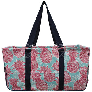 "NGIL All Purpose Open Top 23"" Classic Extra Large Utility Tote Bag Southern Summer Pineapple Navy"