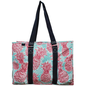 "NGIL All Purpose Organizer 18"" Large Utility Tote Bag Summer Pineapple Navy"