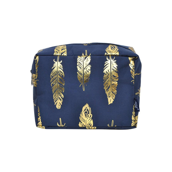 NGIL Large Travel Cosmetic Pouch Bag Gold Feather