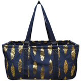"NGIL All Purpose Open Top 23"" Classic Extra Large Utility Tote Bag Gold Feather"