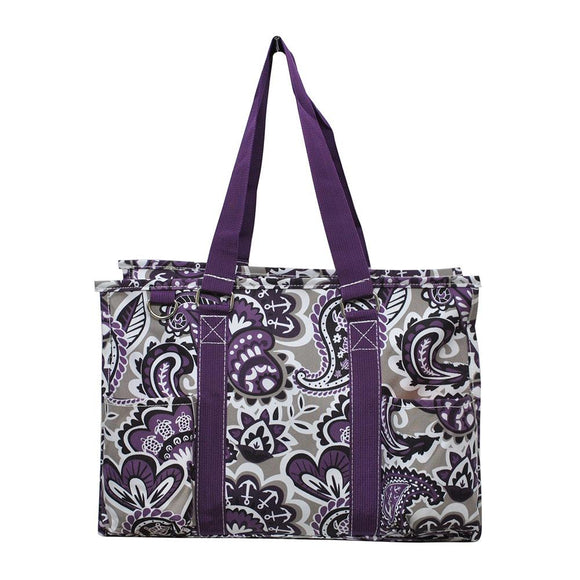 NGIL All Purpose Organizer Medium Utility Tote Bag Paisley Park Purple