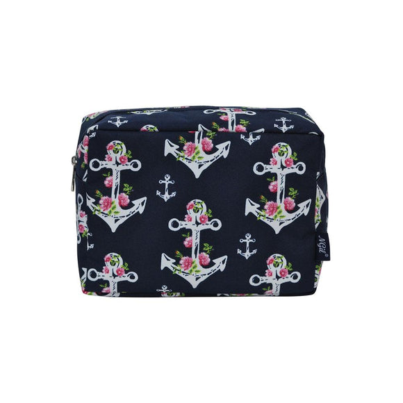 NGIL Large Travel Cosmetic Pouch Bag Rose Anchor Navy