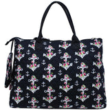 NGIL Extra Large Quilted Cotton Tote Bag Rose Anchor Navy