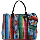 NGIL Extra Large Quilted Cotton Tote Bag Serape Black