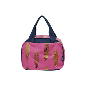 NGIL Insulated Lunch Bag Gold Feather Hot Pink