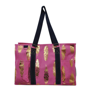 NGIL All Purpose Organizer Medium Utility Tote Bag Gold Feather Coral