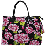 Extra Large Quilted Cotton Tote Bag Hydrangea Black