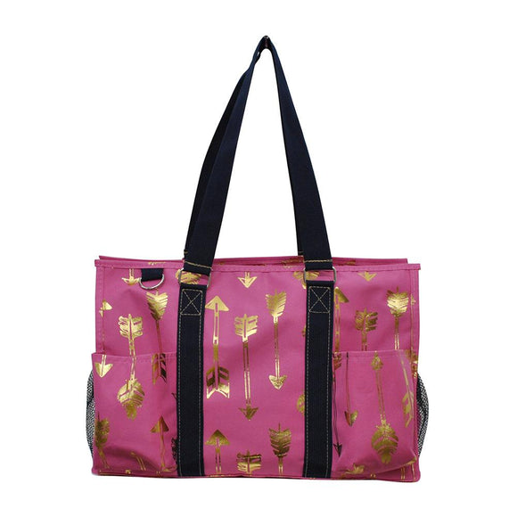 NGIL All Purpose Organizer Medium Utility Tote Bag Gold Arrow