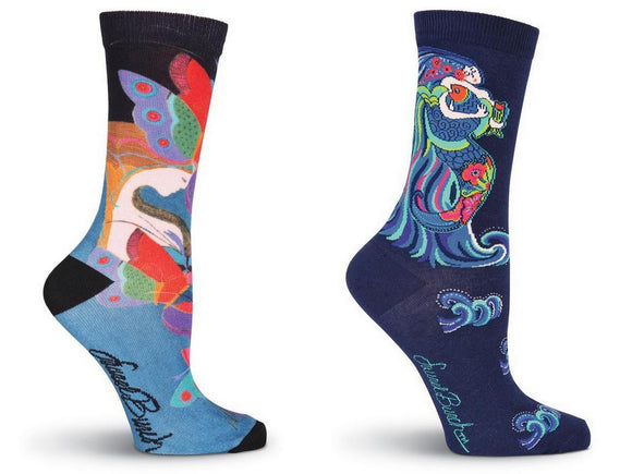 Laurel Burch Women's Crew Socks 2 Pair  Bundle (Dancing Mermaids, Mid Summer)