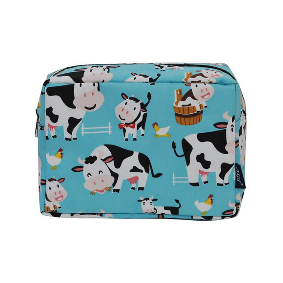 NGIL Large Travel Cosmetic Pouch Bag Cow Aqua Blue