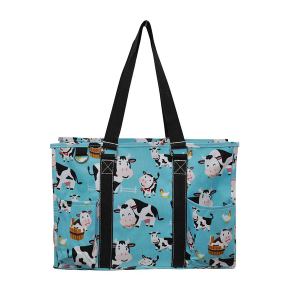 NGIL All Purpose Organizer Medium Utility Tote Bag Cow Aqua Blue