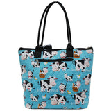 NGIL Quilted Medium Tote Bag Cow Aqua Blue