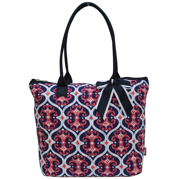 NGIL Quilted Medium Tote Bag Classy Vine Navy