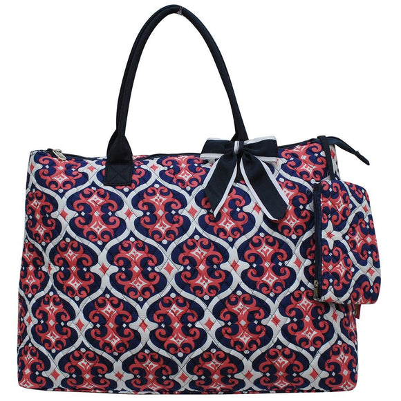 NGIL Extra Large Quilted Cotton Tote Bag Classy Vine Navy