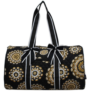 NGIL Quilted Cotton Large Duffle Bag Mandala Dream Black