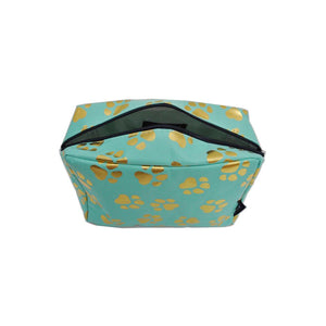 NGIL Large Travel Cosmetic Pouch Bag Gold Puppy Paw